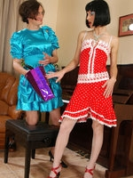 Lewd sissy in a lovely baby-blue dress gets boned by a girl with a strap-on