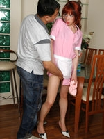 Sissy maid blowing pecker before pulling down her tights for mighty dicking