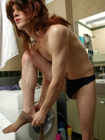 Hung chap takes the most from pantyhose anal with a sissy guy in a bathroom